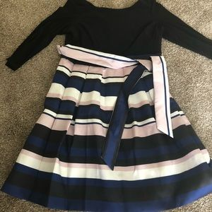 Black and striped cocktail dress